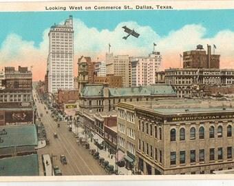 Linen Postcard, Dallas, Texas, Looking West on Commerce Street, ca 1935