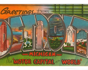 Linen Postcard, Greetings from Detroit, Michigan, Motor Capital of World, Large Letter, ca 1940