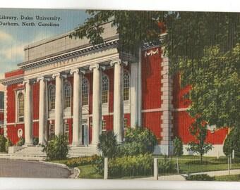 Linen Postcard, Duke University, Durham, North Carolina, Library, ca 1945