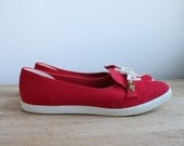 Vintage Women's Red and White Slip On Flats with White Bows // Tennis Shoe Sneaker Canvas Loafers Ballet Flats Size US 10 UK 41 Gift for Her