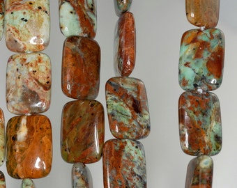 14x10mm African Green Opal Gemstone Brown Green Rectangle Loose Beads 16 inch Full Strand (90185885-848)