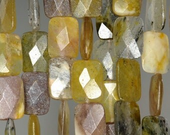 10x8mm Creamy Opal Gemstone Yellow Faceted Rectangle Loose Beads 15.5 inch Full Strand (90185515-856)