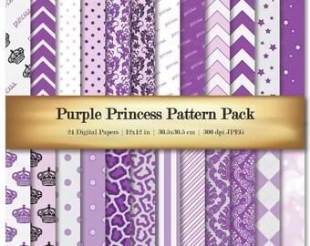 Digital Scrapbook Paper Purple Crown Princess Scrapbooking Paper Variety 24 Pack Floral Chevron Argyle Striped Patterns - Commercial Use OK