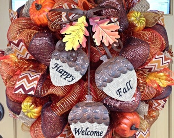 Thanksgiving Fall Wreath~ Autumn Deco Mesh Wreath