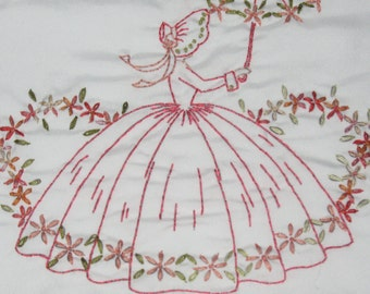 FREE SHIPPING OOAK Set of Two Pillowcases Hand Embriodered Southern Belle With Lazy Dazeys