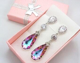 Bridesmaid Gift, Purple earrings Swarovski Crystal Vitrail Light earrings Pink Sparkly, sterling Bridal Party Purple Pink Wedding Jewelry