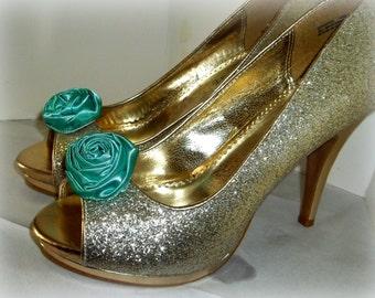 Wedding Shoe Clips, Rose Shoe Clips, Aqua Roses, Bridal Wedding, Bridal Shoe Clips for Wedding Shoes, Bridal Shoes, Special Occassion