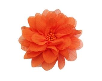 "Orange Chiffon Flower. 4"" Orange Chiffon Flower. 1 Piece. ISLA Collection. A3-SF-002T"
