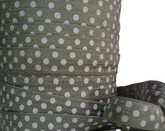 "Gray Polka Dot Fold Over Elastic, 5/8"". Polka Dot FOE. White Polka Dot FOE. 5 Yards. PFOE-3006"
