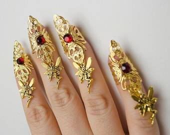 Gold and red fairy claws - set of 5