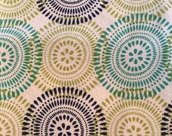 FAT QUARTER cotton fabric:  large pinwheel circles colored print on white fabric.