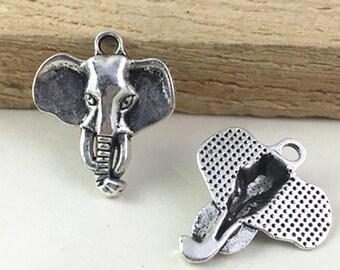 15pcs Antique Silver Elephant Head Charm Pendants 23x27mm AC101-4