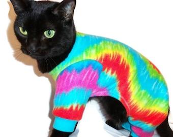 Tie Dye Fleece Cat Pajamas-Fleece Cat Pajamas-Fleece Cat Onesie-Cat Clothing-Cat Onesie-Clothes for Cats-Cat Clothes-Onesies for Cats