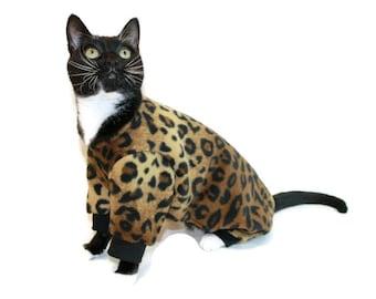 Leopard Fleece Cat Pajamas-Cat Clothes-Cat Pajamas-Cat Clothing-Cat Onesie-Clothes for Cats-Sphynx Cat Clothes-Onesies for Cats-Cat Pjs