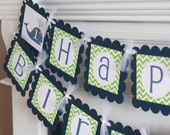 Birthday or Baby Shower Navy Blue and Green Whale Chevron Banner - Toppers, Favor Tags & Door Sign Available