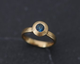 Blue Topaz Gold Ring - 18K Gold Blue Topaz Ring - Blue Gemstone Solitaire Engagement Ring - Handmade Engagement Ring - FREE SHIPPING