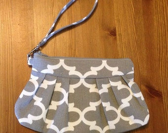 Grey and White Pleated Canvas Clutch/Wristlet with Removable Wrist Strap