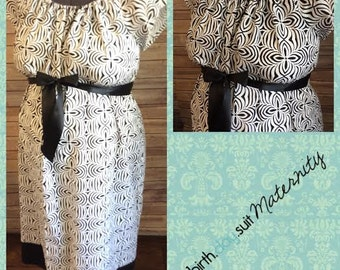 Maternity Hospital Labor Gown- black and white geometric