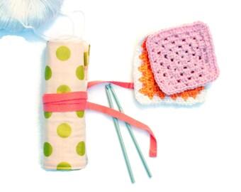 Peach Glitz Crochet Hook Organizer 7 inch (17cm) Glitz Crochet Roll Gold Spot Fold Over Top - Crochet Case