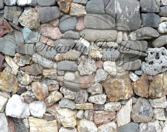 NEW ITEM 7ft x 6ft Vinyl Photography Backdrop  / Battle Rock / Colored Rocks