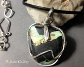 Old Stock Arizona Turquoise in Matrix & .925 Sterling Silver Pendant/Necklace - Handcrafted