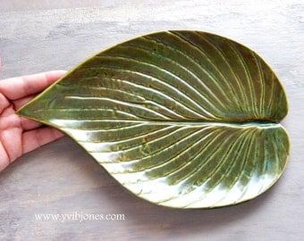 SALE Large Leaf Serving Dish Pottery Soap Trinket Jewelry Holder Ceramic Spoon Rest Whimsical Ceramic Home Decor Keepsake Dessert Plate
