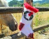 Bella Beaded Wreath Hand Knit Christmas Stocking