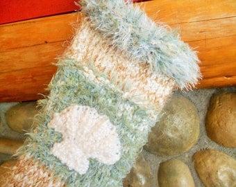 Hand Knit Seashell Christmas Stocking, Ocean Waves