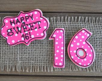 Sweet Sixteen Birthday Gifts / Sweet Sixteen Birthday Party / Sweet Sixteen Birthday Sugar Cookies - 18 cookies