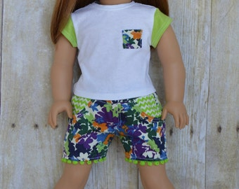 Floral Jean Shorts and Pocket Tee for Ameican Girl and 18 Inch Dolls