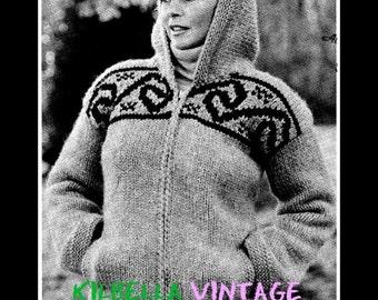 Cowichan Sweater Pattern  White Buffalo Wool Hooded Zip Jacket Pattern #19 Sizes 36/38/40 Instant Download on Etsy