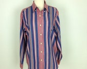 Vintage ralph laurne button down collar stripe shirt unisex large