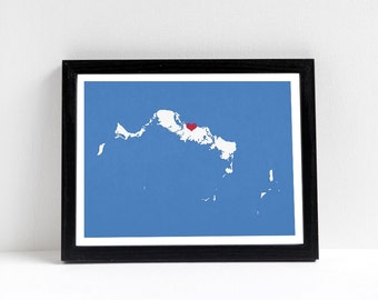 Turks and Caicos Islands Map Custom Personalized Heart Print - I Love My Hometown - Carribean Wall Art - Gift Souvenir