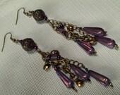 Long Purple Teardrops Earrings, Boho Chic Earrings, Long Purple Glam Earrings, Long Bohemian Earrings, Long Purple & Brass Earrings