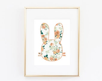 Coral Floral Bunny Cardstock Poster Physical 8x10 Print