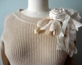 Lacy Decorated Sweater, Embellished Pullover, Beige Sweater, Boho Bohemian Style, Altered Couture, Pale Lace Sweater, One of a Kind
