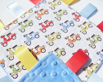 Taggie Baby Minky Blanket Scooters 100% Cotton Fabric taggies Baby Boy Gift Idea