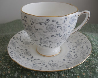 Vintage A.B.J. Grafton Made in England Cup and Saucer Grey and Gold