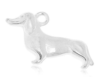 Silver Dog Charms - Dachshund - Double Sided - 21x12mm - 8pcs - Ships IMMEDIATELY from California - SC1171