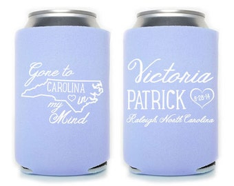 Custom Wedding Favor - Gone to Carolina in My Mind Can Coolers