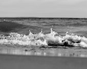 Ocean Photography, Black and White Photograph, Coastal Wall Art, Water Photo, Wave Picture, Bathroom Artwork