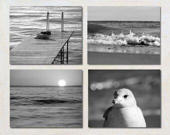 Black and White Photography Set of 4 Photos, 5x7 Ocean Photographs, Nature Art Print Set, Cottage Picture Set, Modern Lake House Decor