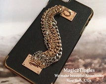 """Unique Brazalete Stylish Personalized Chain Hook Ring Wristlet Wrist Lanyard Gold Silver Jewelry Chrome Cover Charm Case For iPhone 6 - 4.7"""""""