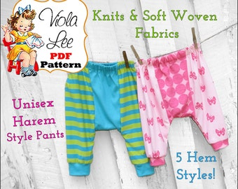 Girl's Ruffles Pant Sewing Pattern pdf Toddler Unisex Knit Harem Pant pdf Pattern Girl's Sewing Pattern. Baby Pants Pattern. Pajama Pattern