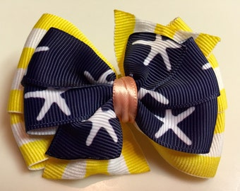 Yellow Stripes & STARFISH Summer BEACH Stacked Boutique Ribbon Bow Handmade for PETS Dog Bow Collar Accessory