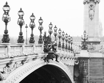 Paris Bridge Photograph, Pont Alexandre III, Black and White, Large Wall Art, French Decor, Architecture Travel Photograph