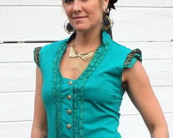 Ladies Teal Ruffle Victorian Vest with gorgeous Brass Sri Yantra snaps