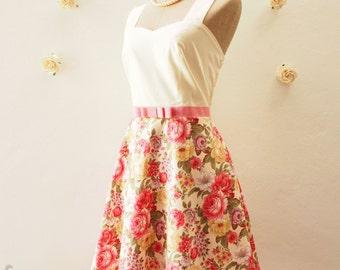 Amor Pink Summer Dress Floral Swing Dress Floral Bridesmaid Dress Tea Party Dress Pink Floral Dress Wedding Dress Size XS-XL,Custom