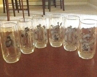 Libbey lot of 6 Norman ROCKWELL SPORTING BOYS 16 Ounce Glasses