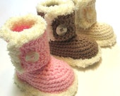 NEW baby girl boots with fuzzy trim.  Made to order.  Pink, cream, brown boots with trim.  Crochet baby booties.